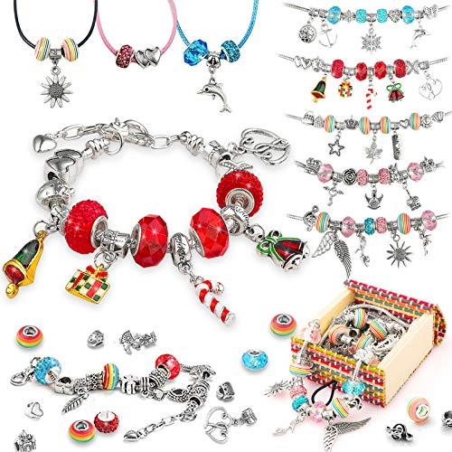 TBoonor Geschenke Mädchen 4-16 Jahre, Charm Armband Kit DIY enthält 62 Stück - Armband Basteln für Kinder Adventskalender Schmuck Mädchen Bastelset Geschenke Weihnachten Geburtstag für Kinder
