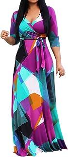 Bandage Split Loose Dress Fashion Women Plus Size Print V-Neck Long Sleeve Dress