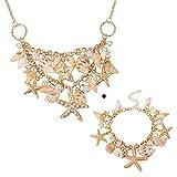 Pandahall Fashion Sea Shell Starfish Faux Pearl Collar Bib Statement Chunky Necklace and Bracelets Set in Gift Box