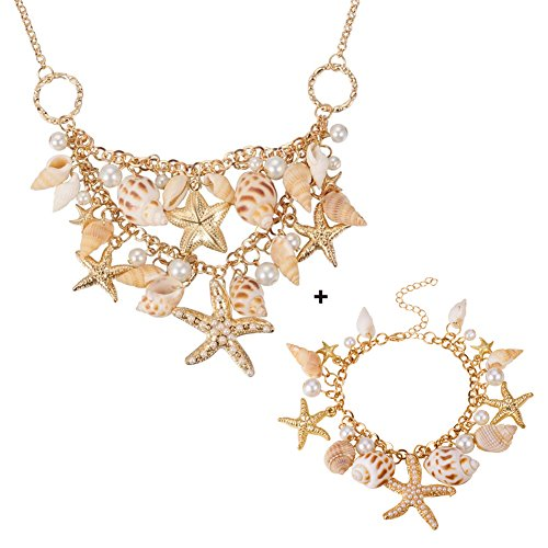 Pandahall Fashion Sea Shell Starfish Faux Pearl Collar Bib Statement Chunky Necklace and Bracelets Set in Gift Box Mermaid Shell Necklace Mermaid Costume Jewelry for Women