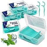 300 pz. filo interdentale in uhmwpe con sapore di menta piperita con scatola di conservazione igienico e portatile, cura dentistica per tutta famiglia (5×60pcs)