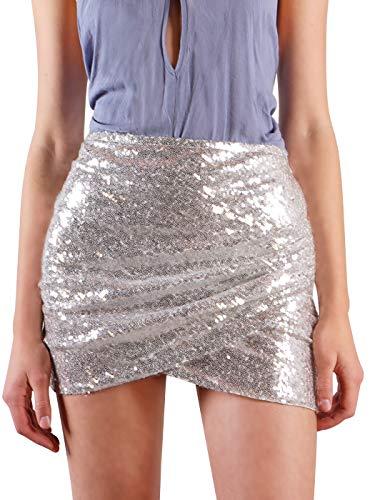 Anna-Kaci Womens Short Ruched Tulip Hem Body Con Sequin Club Pencil Mini Skirt, Silver, Medium