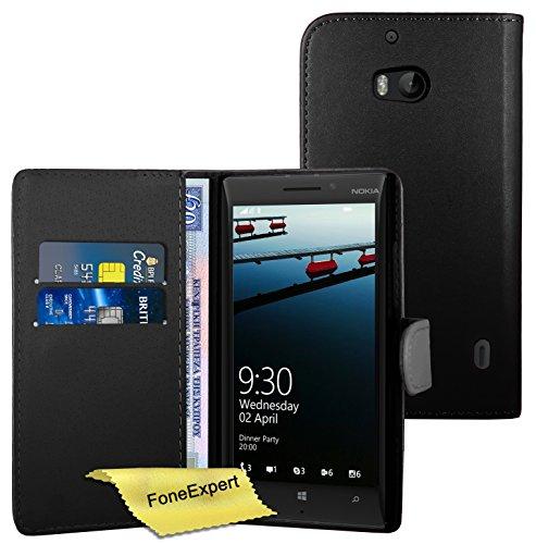 FoneExpert® Wallet Hülle Flip Cover Hüllen Etui Ledertasche Lederhülle Premium Schutzhülle für Nokia Lumia 930 + Bildschirmschutzfolie (Schwarz)