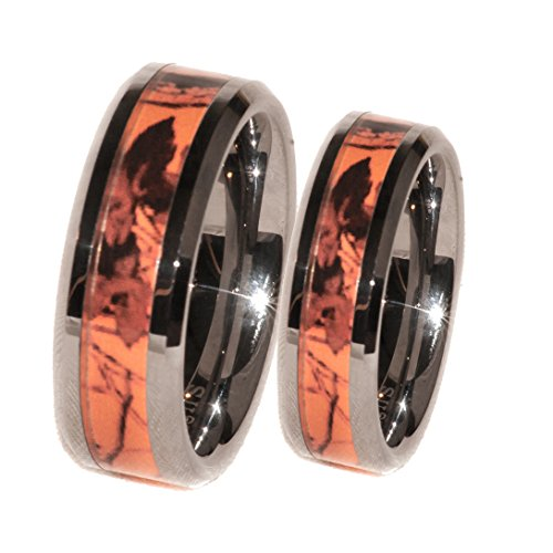 Southern Designs Orange Camouflage His & Her Ring Band Set (His 10 Hers 7)