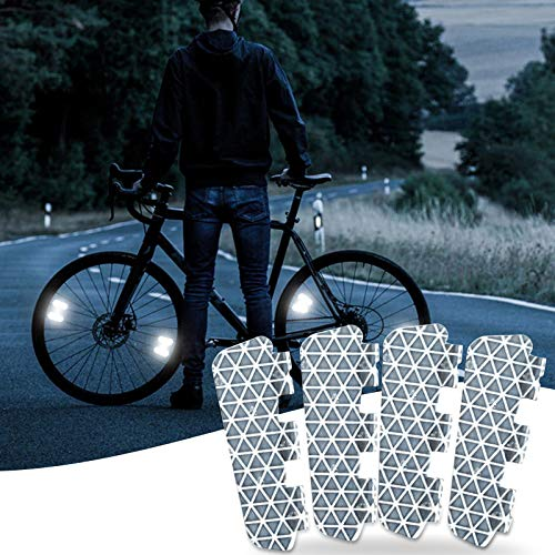 4pcs Riding Bike Bicycle Warning Reflector, Bicycle Reflective Tape, Wheel Luminous Stickers Paste waterproof Decoration, Bike Reflector for Your Night Ride Safely with Style, No Air Drag (4PC)