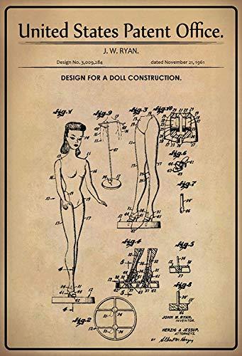 NWFS patent ontwerp voor een plastic - poppen metalen bord bord metaal tin teken gewelfd gelakt 20 x 30 cm