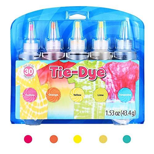 Lvhan Tie Dye Kit - 5 Farben Textil Farben Tie Dye Kit mit Handschuhen und Gummi Band für Hemd, Stoff,Tie
