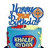 KAPOKKU Glitter Happy Birthday Cake Topper for Nerf Theme Gun Picks Target Cake Decoration for Kids Party Supplies