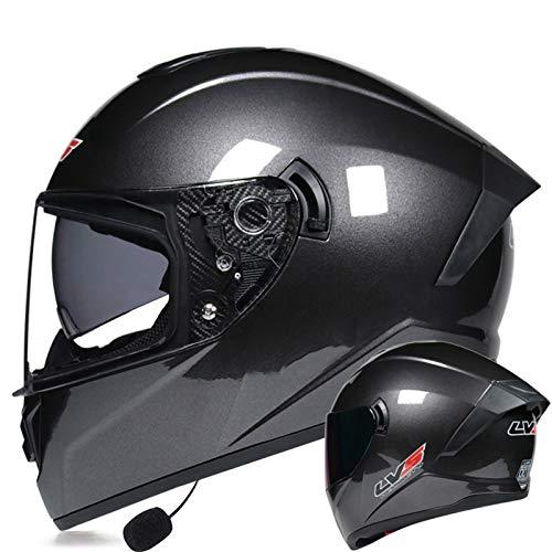 ZLYJ Casco Integrado Bluetooth para Motocicleta, Casco Abatible De Doble Lente con Auricular Bluetooth Casco Modular Casco Integral Certificado ECE H,M(57-58cm)