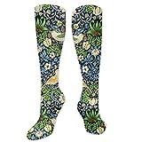 Art Nouveau - Calcetines para tapiz de pájaros y flores, 19,7 pulgadas/50 cm de largo, para mujeres y hombres, el mejor Dring con atlético al aire libre