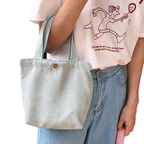 KingbeefLIU Lunch Bag Portable Corduroy Meal Bento Tote Lunch Bag Picnic Camping Pouch Lady Handbag Mint Green
