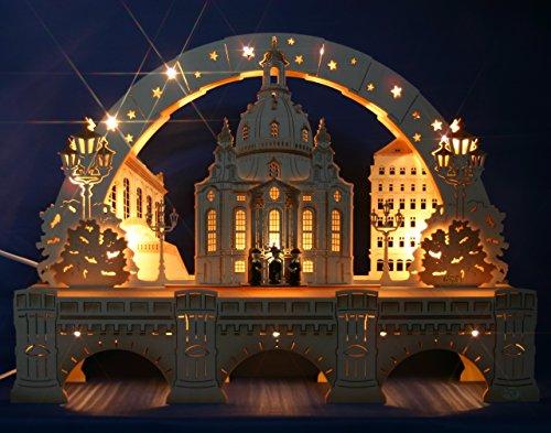 Exclusiver 3D Schwibbogen Dresden Frauenkirche 52cm + Unterbank Augustusbrücke Handarbeit aus dem Erzgebirge