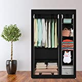 Bedroom Armoires 67' Portable Clothes Closet Wardrobe with Non-Woven Fabric and Hanging Rod Quick and Easy to Assemble US Delivery (Black)