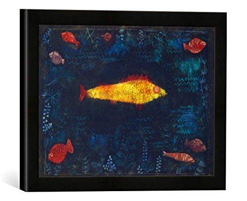 Gerahmtes Bild von Paul Klee Der goldene Fisch, Kunstdruck im hochwertigen handgefertigten Bilder-Rahmen, 40x30 cm, Schwarz matt