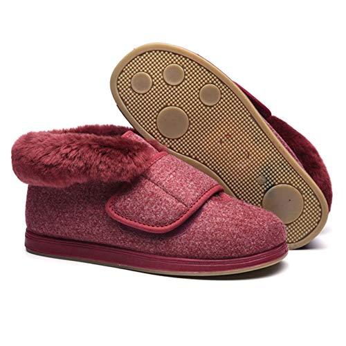 YFWJD Mujer Hombre Invierno Fur Zapatillas de Estar Cerradas Calienta Pantuflas, para Interior o Exterior Caucho Suela,Rojo,48