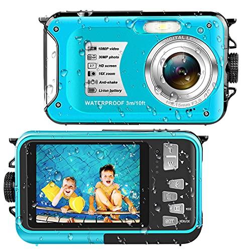Waterproof Camera Underwater Camera Full HD 1080P 30 MP Video Recorder 16X Digital Zoom 10 FT Waterproof Digital Camera for Snorkeling
