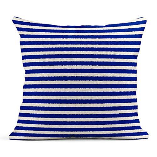 Kinhevao Cojín Patrón de Rayas Marinero Abstracto Dibujado Chaleco de Rayas Azules y Blancas Hermoso cojín de Lino Brillante Almohada Decorativa para el hogar
