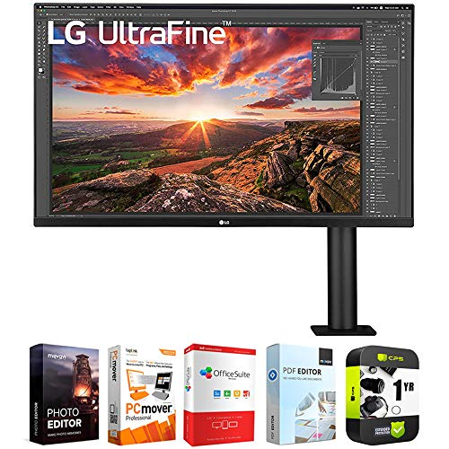 LG 32UN880-B 32 Inch Ultrafine Display Ergo 4K HDR10 Monitor Bundle with 1 Year Extended Protection Plan and Elite Suite 18 Standard Editing Software Bundle