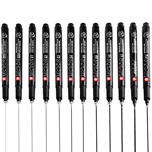 Sakura Pigma Micron Fineliners - Bolígrafos de punta fina (tinta negra, 10 + 2 unidades)