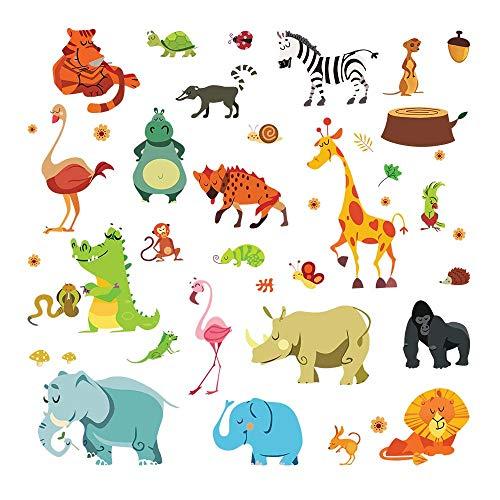 decalmile Pegatinas de Pared Animales de la Jungla Vinilos Decorativos Infantiles Elefante Jirafa León Cebra Adhesivos Pared Habitación Bebés Niños Guardería Dormitorio Salón