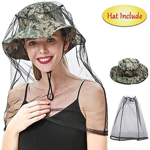 Mosquito Face Head Net with Collapsible Hat Cap (Include) - Camouflage - Insects & Bee & Black Fly & Bug & Midges & Sun Repellent Mesh Mask Netting Clothing Shield for Fishing Hiking Camping Climbing