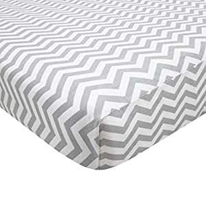 American Baby Company 100% Natural Cotton Percale Fitted Portable/Mini Crib Sheet, Grey Zigzag, Soft Breathable, for Boys and Girls, Zigzag Grey