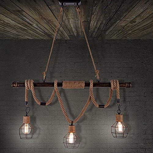 Vintage Army Touw Industrie Lamp Plafond Lamp LED Lampen Lamp E27 - Plafond Lamp met 3 Capaciteit