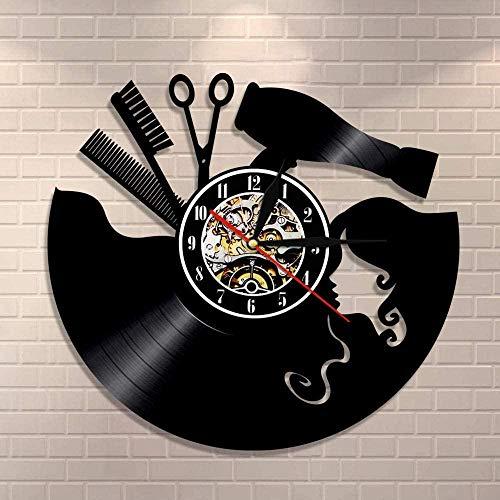 chazuohuaile Co.,ltd Reloj De Pared Peluquería Tijeras Peine Reloj De Pared De Vinilo Vintage Salón De Belleza Signo De Pared para Peluquero Corte De Pelo Arte De La Pared Regalo