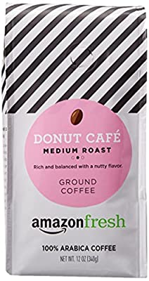 AmazonFresh Donut Cafe Ground Coffee, Medium Roast, 12 Ounce (Pack of 1)
