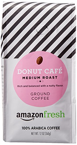 AmazonFresh Donut Cafe Ground Coffee, Medium Roast, 12 Ounce (Pack of 1)