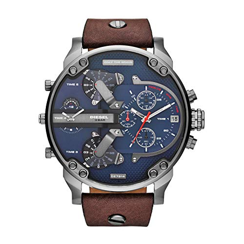 Diesel Men's Mr. Daddy 2.0 Quartz Leather Multifunction Watch, Color: Brown (Model: DZ7314)