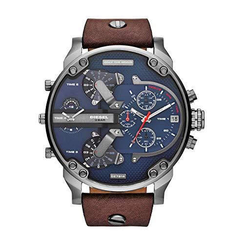 Diesel Men's DZ7314 Mr Daddy 2.0 Gunmetal Brown Leather Watch