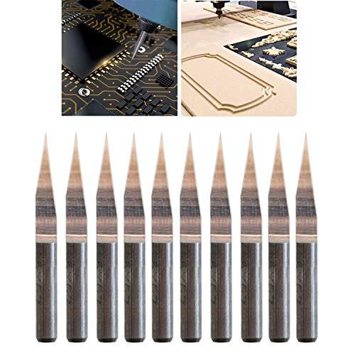 CESFONJER 10 PEZZI 15 ° 0,1 mm, Incisione su Carburo Set di Utensili per Frese Kit per Utensili Rotanti per Macchinari CNC Fresa per Intaglio per Lamiera Marcatura
