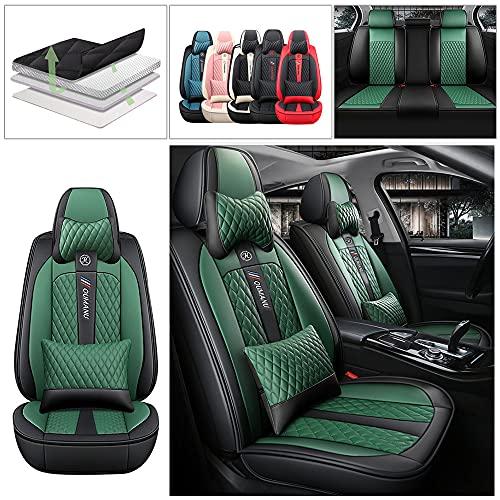 Maidao Funda Asiento Coche para Cadillac SRX 2010-2016 5 Plazas Universal Funda Asientos de Cuero & Reposacabezas Compatible con Airbag Verde Negro
