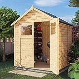 Alpholz Gerätehaus Alisha aus Fichten-Holz | Gartenhaus mit 14mm Wandstärke | Holzhaus inklusive Montagematerial | Geräteschuppen Größe: 202 x 191 cm | Satteldach