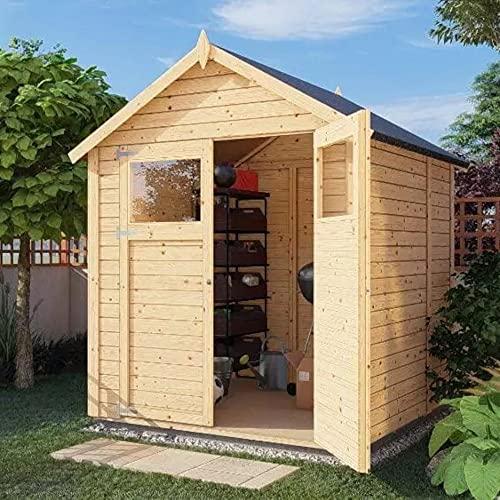 Alpholz Gerätehaus Alisha aus Fichten-Holz | Gartenhaus mit 14mm Wandstärke | Holzhaus inklusive Montagematerial | Geräteschuppen Größe: 202 x...