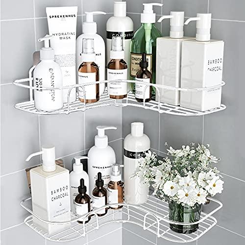ASHINER 2 paquetes de estante ducha esquina para baño, estanteria rinconera de accesorios baño a prueba de óxido, metalica almacenaje de pared + 4 ganchos adhesivos de hierro - Blanco 🔥