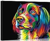 WONZOM Pintura por Números para Adultos, DIY Pintura al óleo sobre Lienzo Pintar por Numeros para Adultos Principiantes - Perro de neón Animal Colorido 16 * 20 Pulgadas (con Marco de Madera)