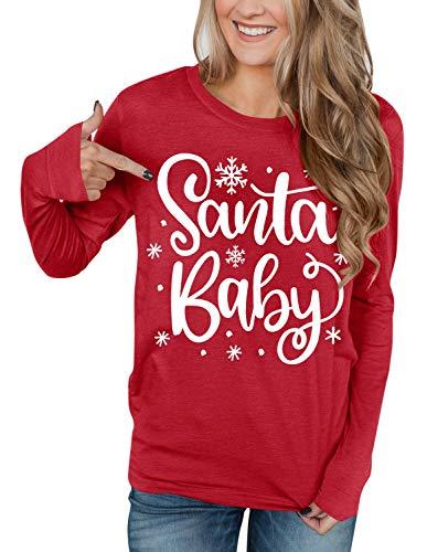 Christmas Womens Graphic Printed Long Sleeve Shirts Xmas Party Cotton Red Sweatshirts Santa Baby L