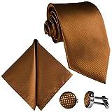GASSANI 8cm Breite Herrenkrawatte Krawattenset Hell-Braune Karo-Muster, Schmale Skinny Hochzeitskrawatte Herrenschlips Einstecktuch Manschettenknöpfe