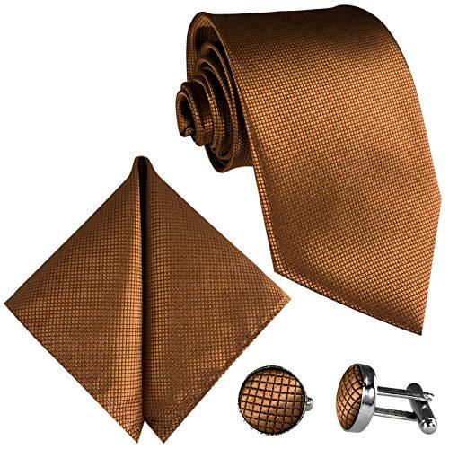 GASSANI 10cm Breite Herrenkrawatte Krawattenset Hell-Braune Karo-Muster, Schmale Skinny Hochzeitskrawatte Herrenschlips Einstecktuch Manschettenknöpfe