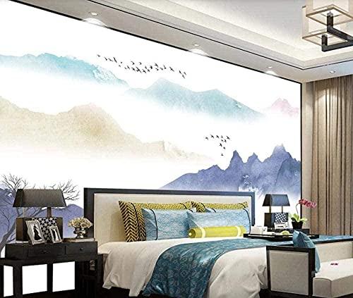 Stil Aquarell Landschaft Vögel Papiertapete Vlies 3D Wand 3d Tapete Wanddekoration fototapete wandbild Schlafzimmer Wohnzimmer-150cm×105cm