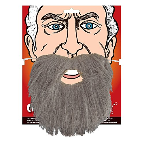 Wicked Costumes Adult Beard Fancy Dress Party Costume Accessory Grey Facial...