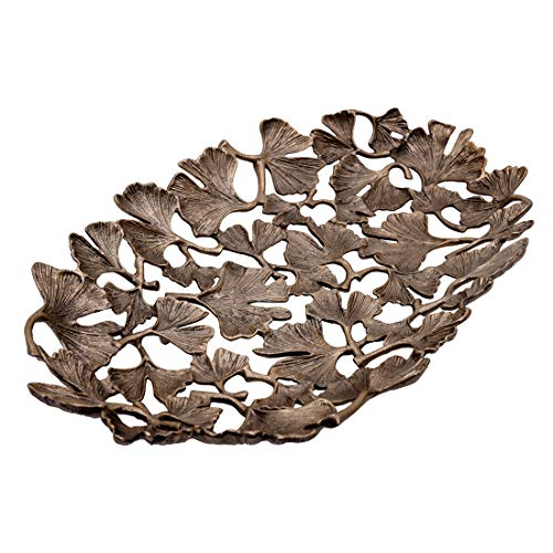 Decozen The Gingko Collection Aluminum Oval Tray Fruit Platter in Gingko Leaf Design Antique Brass Finish Table Décor Item for Home Decorative Serving Platter
