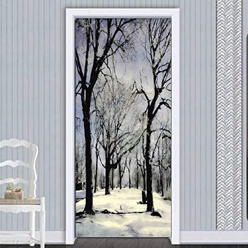 Diopn stickers voor moderne deuren, in wit en zwart, met bosland, stickers voor deuren van PVC, zelfklevend, zelfklevend, 70 x 200)