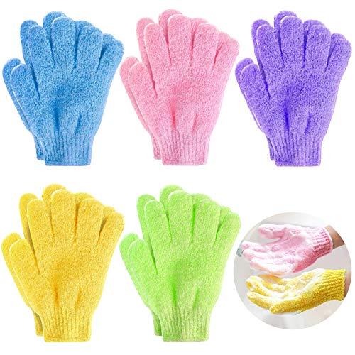 Demason 5 Paar Peeling-Handschuhe, Dusche Handschuh Badehandschuhe Body Scrubbing Handschuh Entfernen Abgestorbene Massage Handschuhe für Herren Damen (Mehrfarbig)