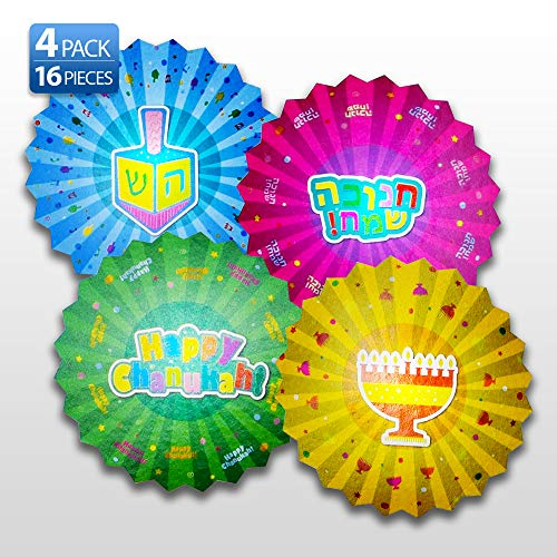 Hanukkah Paper Fan Decoration - 16 Pack - Menorahs, Dreidels, Happy Chanuka and Chanukah Sameach - Hanukkah Party Decorations and Supplies - Izzy 'n' Dizzy