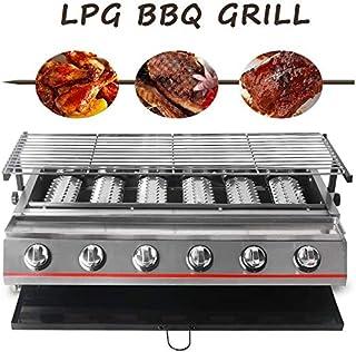 Gas Grill barbacoa portátil de 6 quemadores jardín al aire libre de la comida campestre casa ajustable de acero inoxidable con el medio ambiente parrilla de la barbacoa, máquina de mesa, accesorios ba