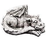 gartendekoparadies.de Massive Steinfigur großer schlafender Stein Drachen Dragon Dinosaurier aus Steinguss frostfest