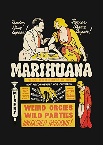 CafePress Marihuana Anti-arzneimittelfreie Vintage Propaganda Tooth Orgien und WILD Feiern. ENTFESSELTE LEIDENSCHAFTEN! c1936 250gsm Gloss Art Card A3 Reproduktion